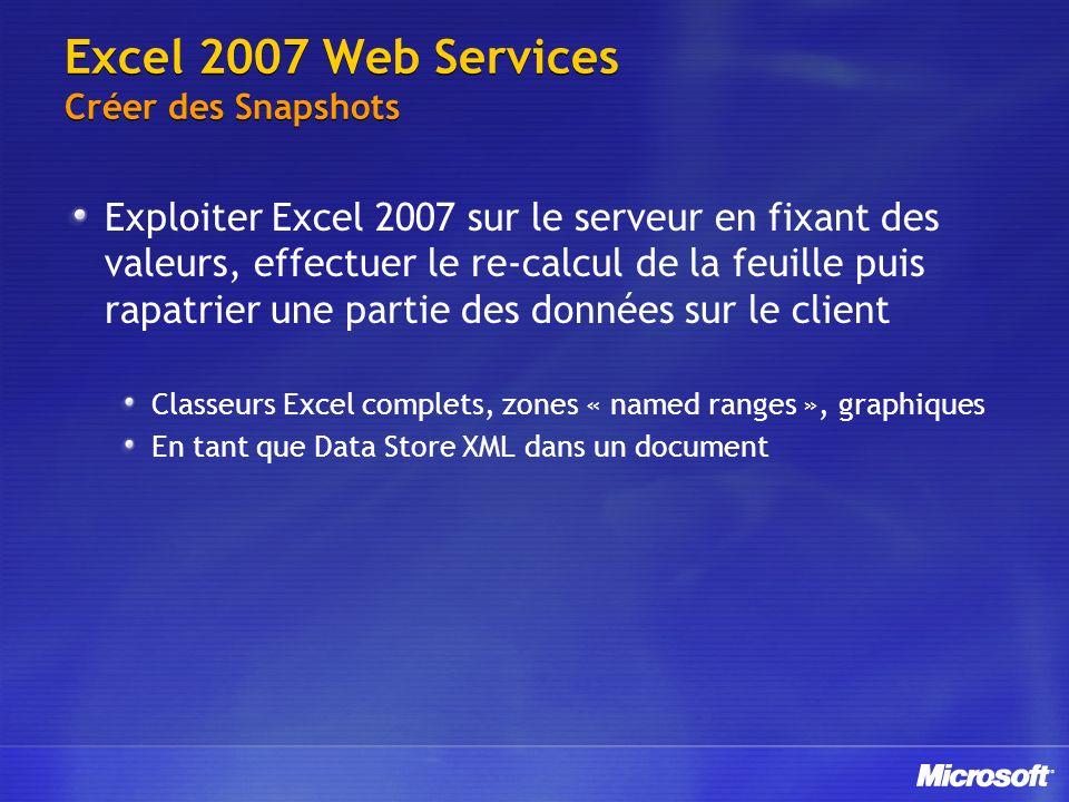 Excel 2007 Web Services Créer des Snapshots