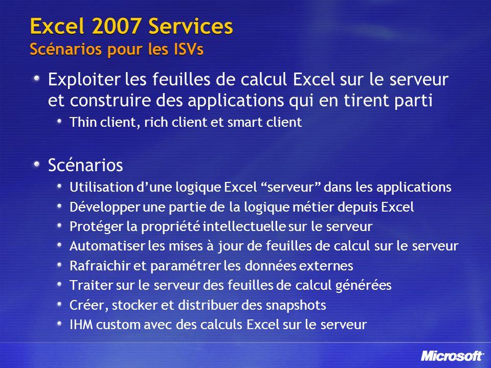 Excel 2007 Services Scénarios pour les ISVs