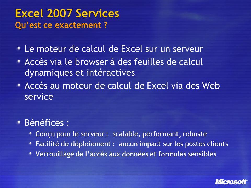Excel 2007 Services Qu'est ce exactement