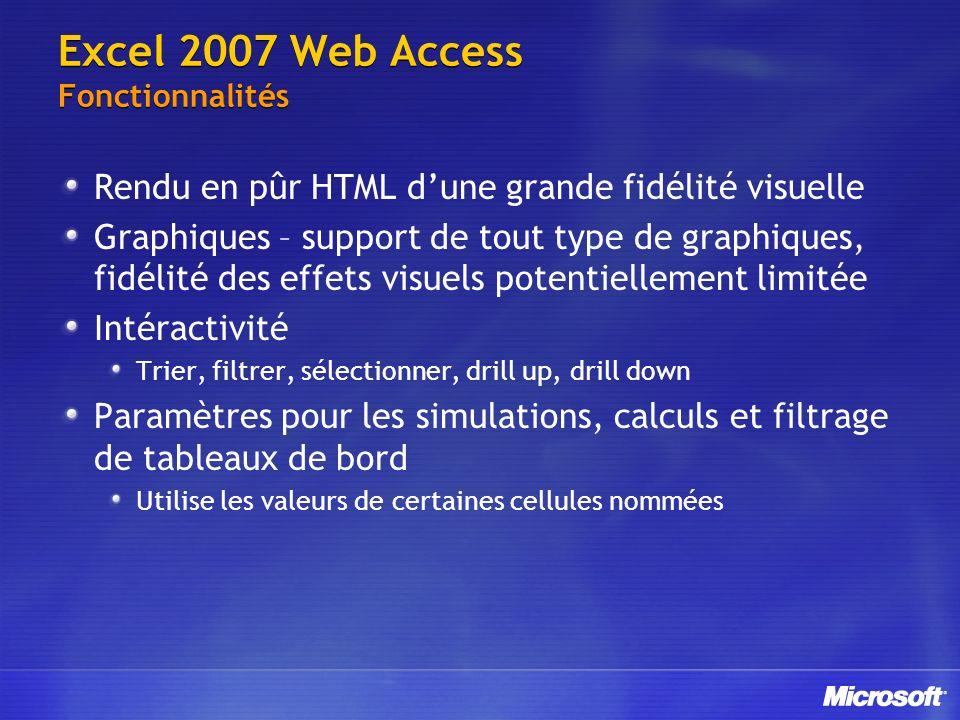 Excel 2007 Web Access Fonctionnalités