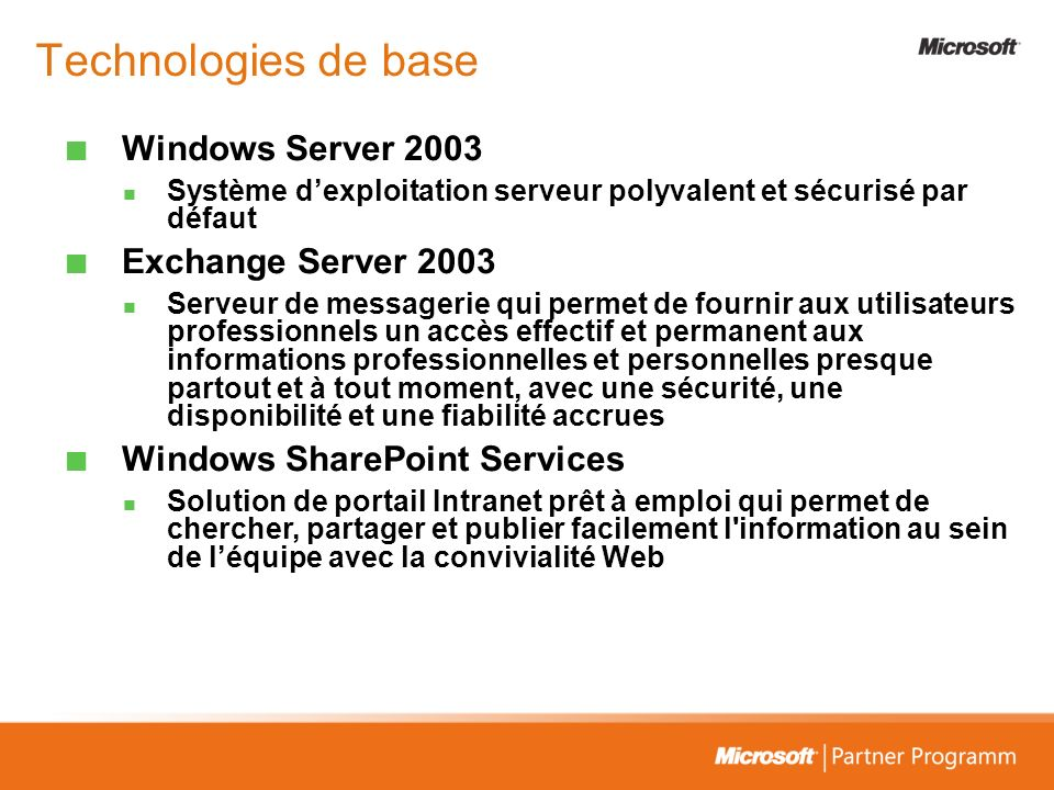 Technologies de base Windows Server 2003 Exchange Server 2003