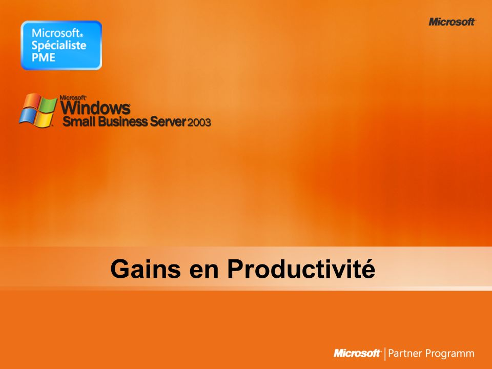 Gains en Productivité