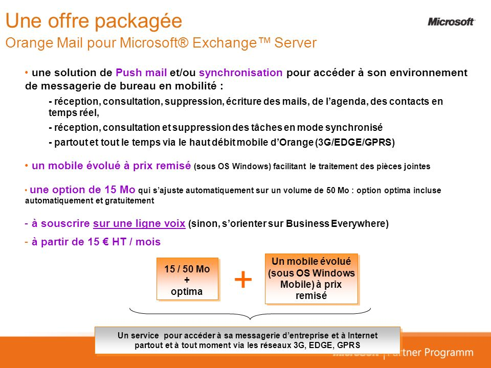 Une offre packagée Orange Mail pour Microsoft® Exchange™ Server