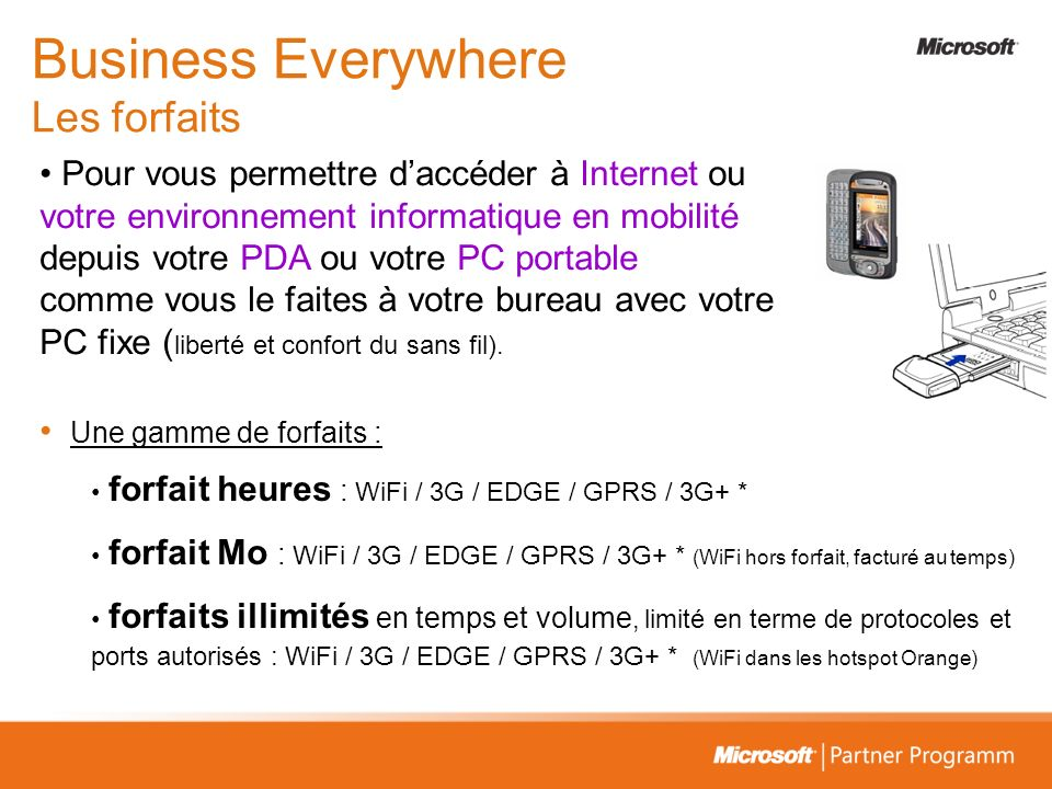 Business Everywhere Les forfaits