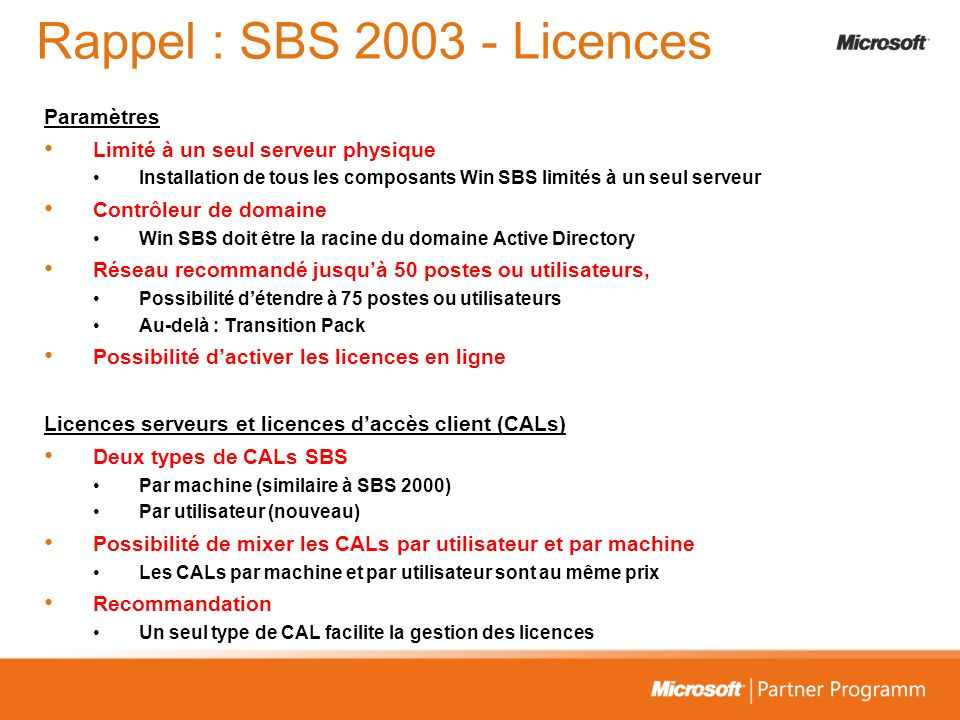 Rappel : SBS 2003 - Licences Paramètres