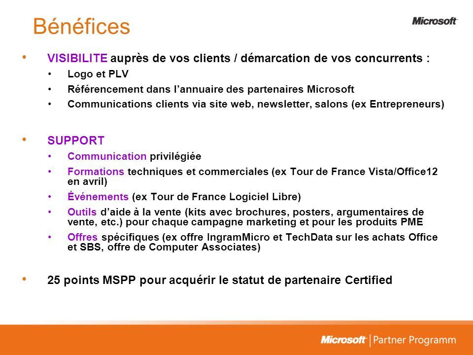 Bénéfices VISIBILITE auprès de vos clients / démarcation de vos concurrents : Logo et PLV. Référencement dans l'annuaire des partenaires Microsoft.