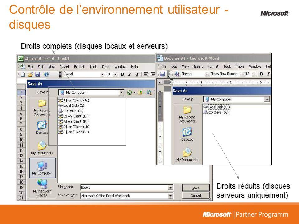 Contrôle de l'environnement utilisateur - disques
