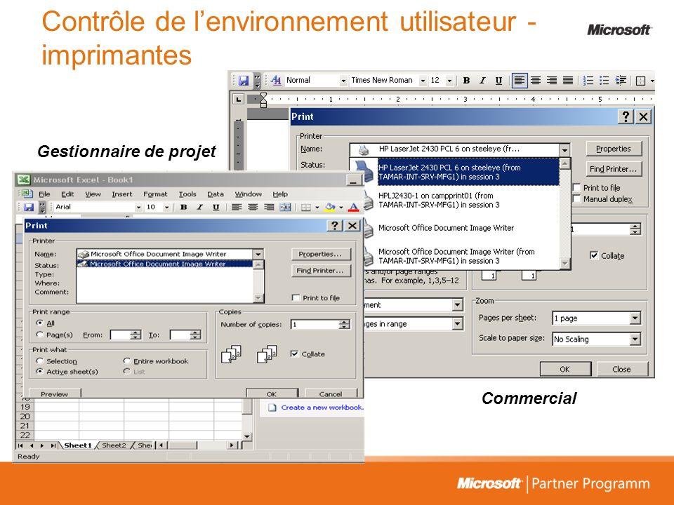Contrôle de l'environnement utilisateur - imprimantes
