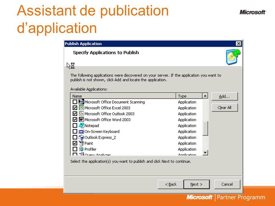 Assistant de publication d'application