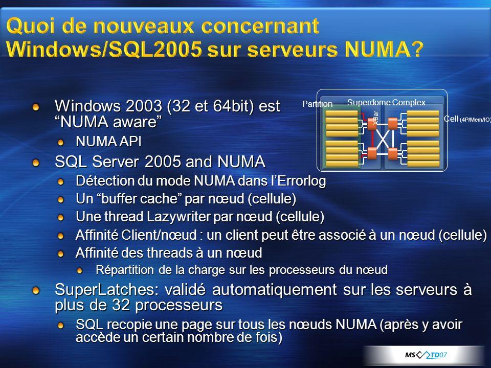 Quoi de nouveaux concernant Windows/SQL2005 sur serveurs NUMA