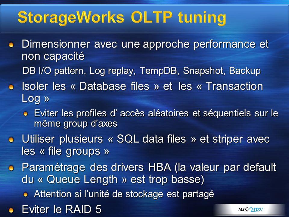 StorageWorks OLTP tuning