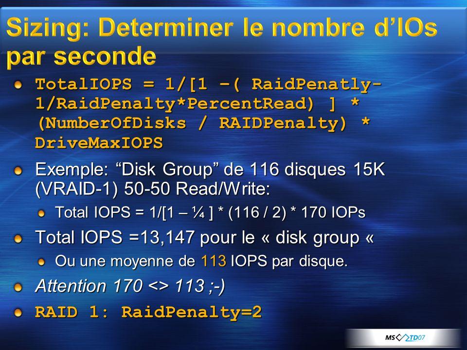 Sizing: Determiner le nombre d'IOs par seconde