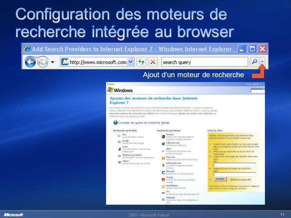 Configuration des moteurs de recherche intégrée au browser
