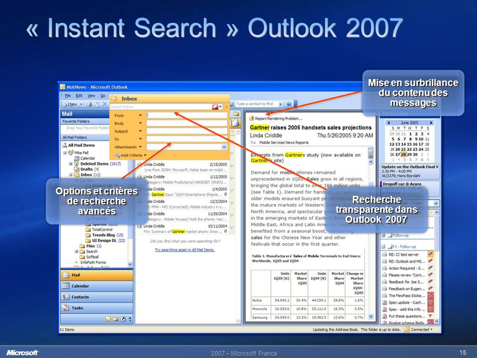 « Instant Search » Outlook 2007