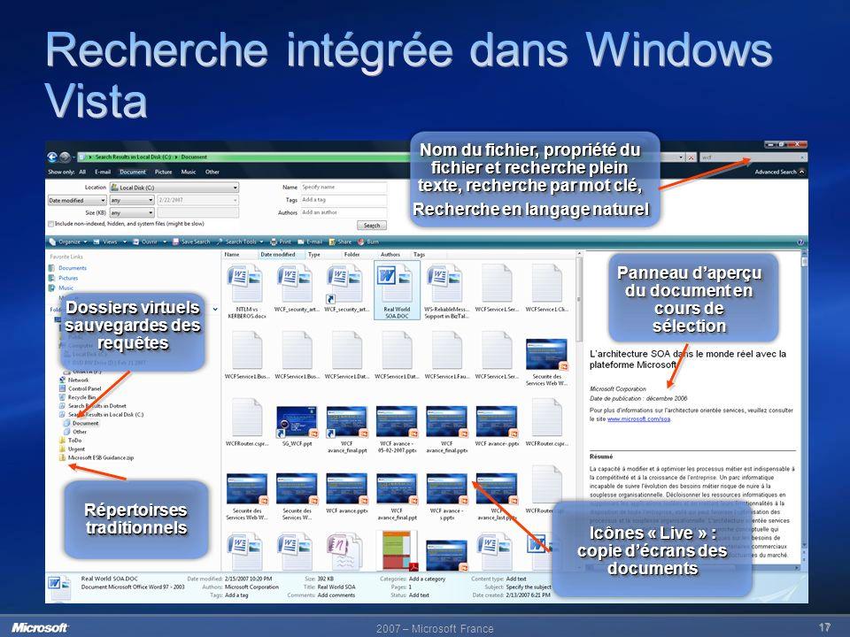 Recherche intégrée dans Windows Vista