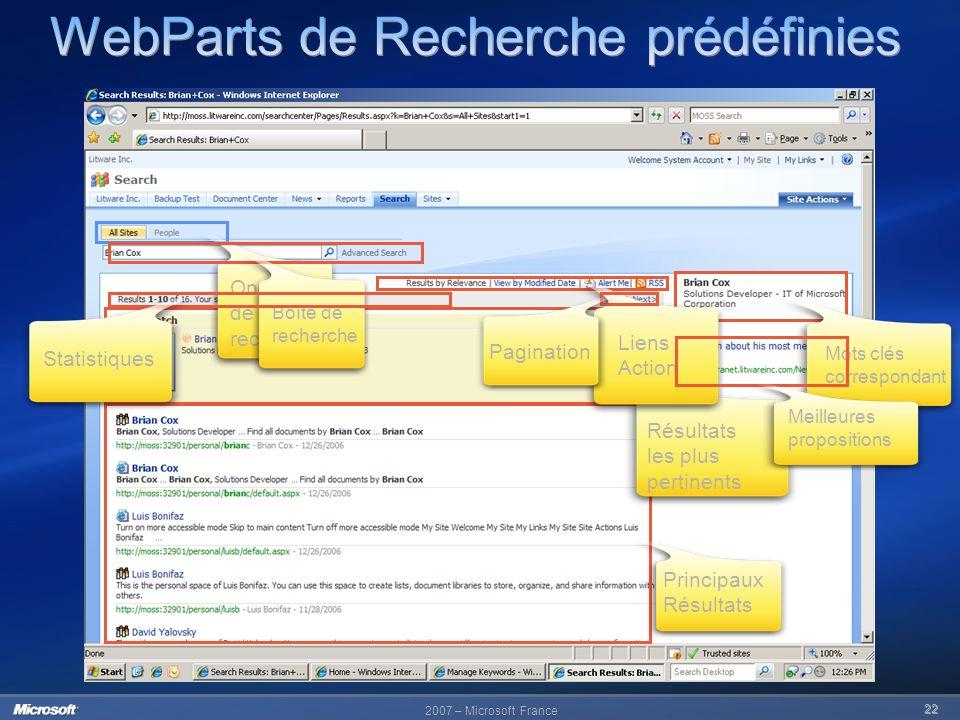 WebParts de Recherche prédéfinies