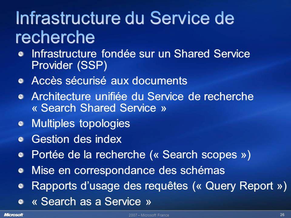 Infrastructure du Service de recherche