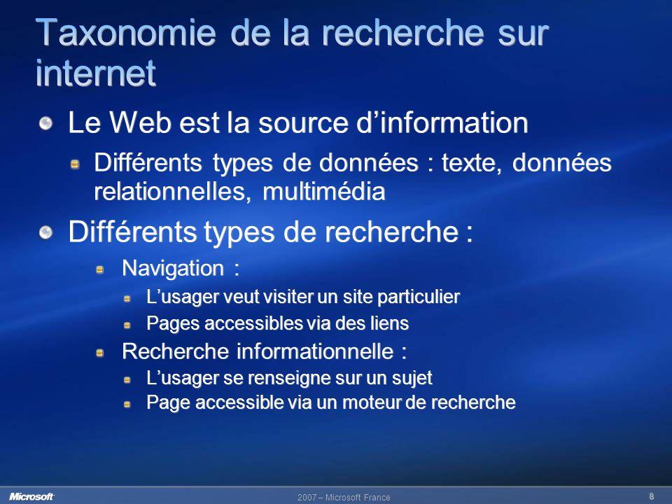 Taxonomie de la recherche sur internet