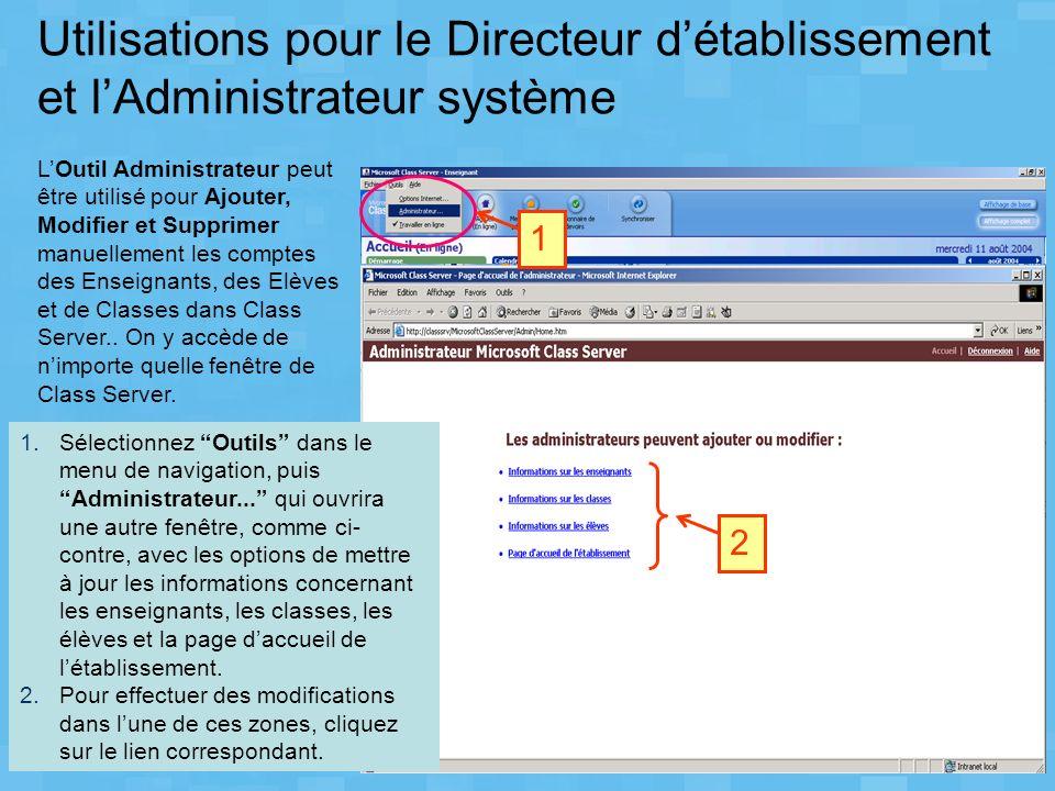 Utilisations pour le Directeur d'établissement et l'Administrateur système