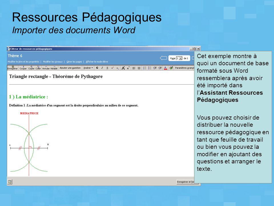 Ressources Pédagogiques Importer des documents Word