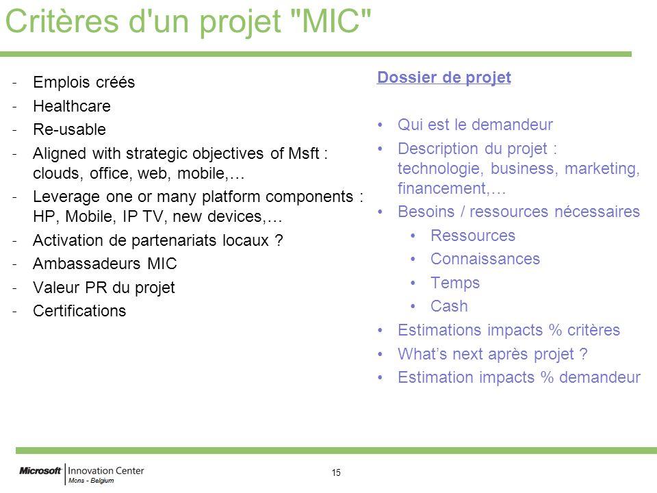 Critères d un projet MIC