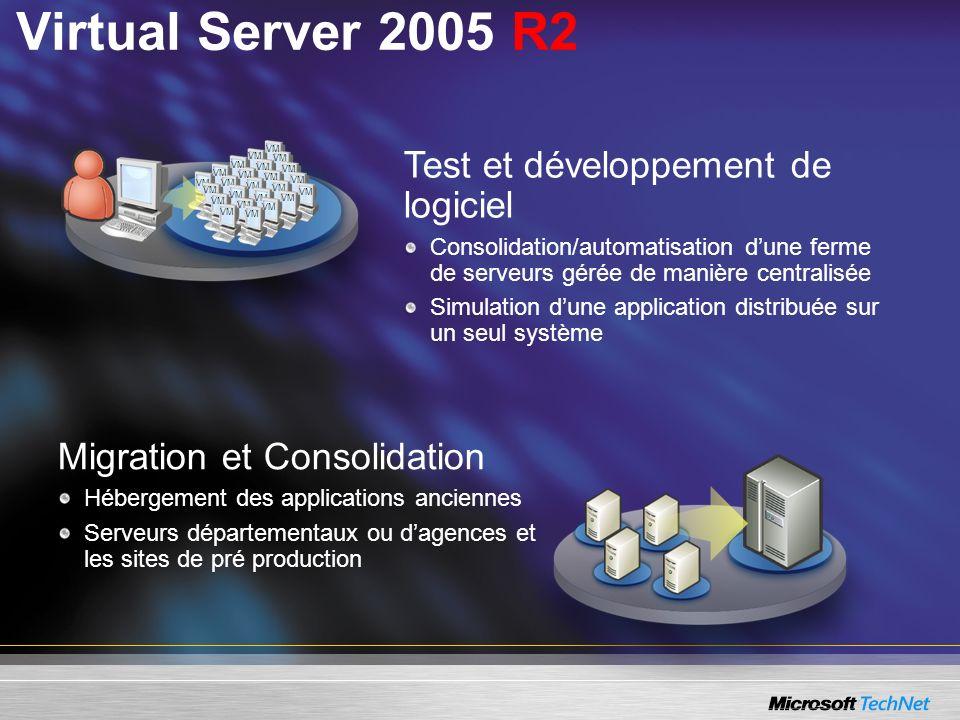 Virtual Server 2005 R2 Test et développement de logiciel