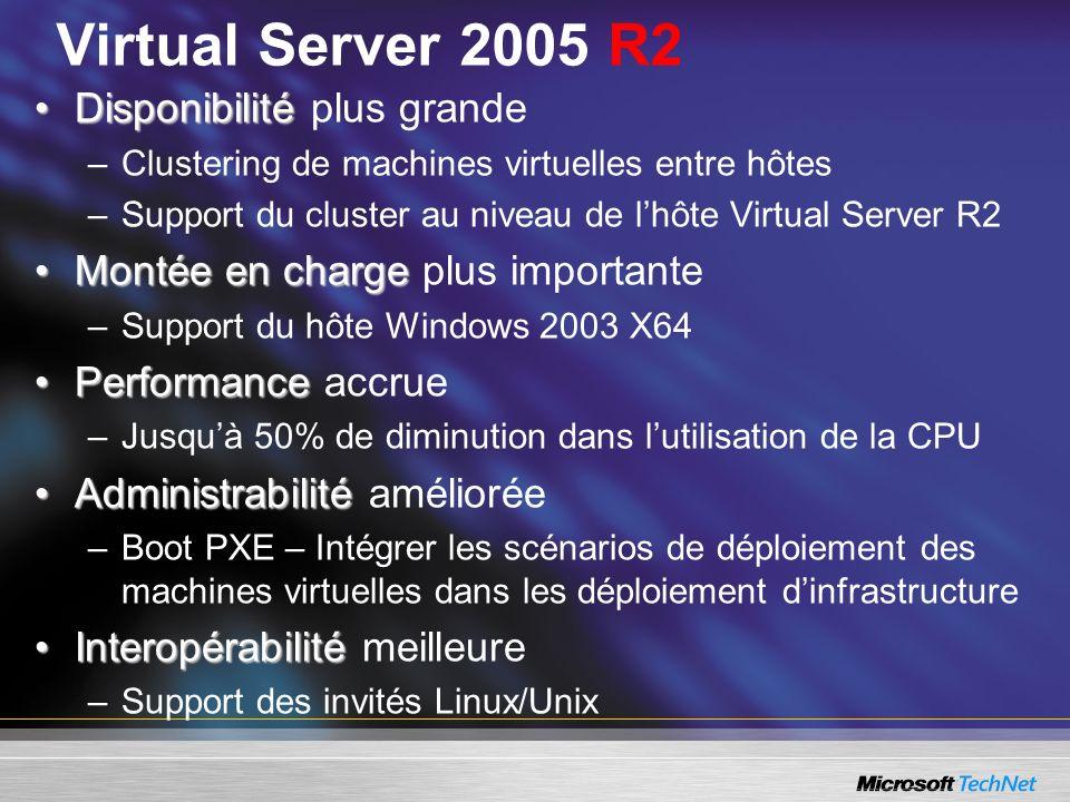 Virtual Server 2005 R2 Disponibilité plus grande