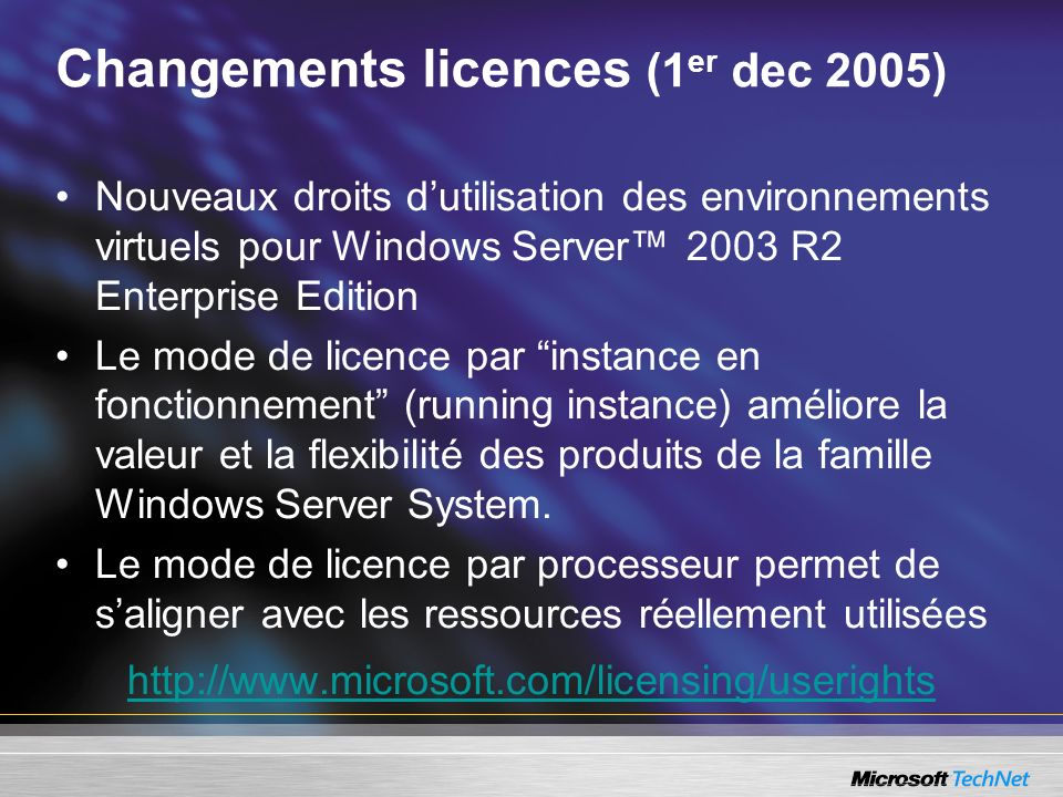 Changements licences (1er dec 2005)