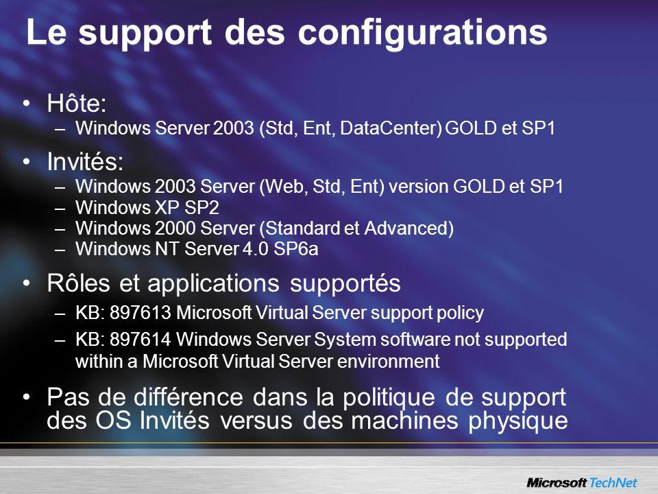 Le support des configurations