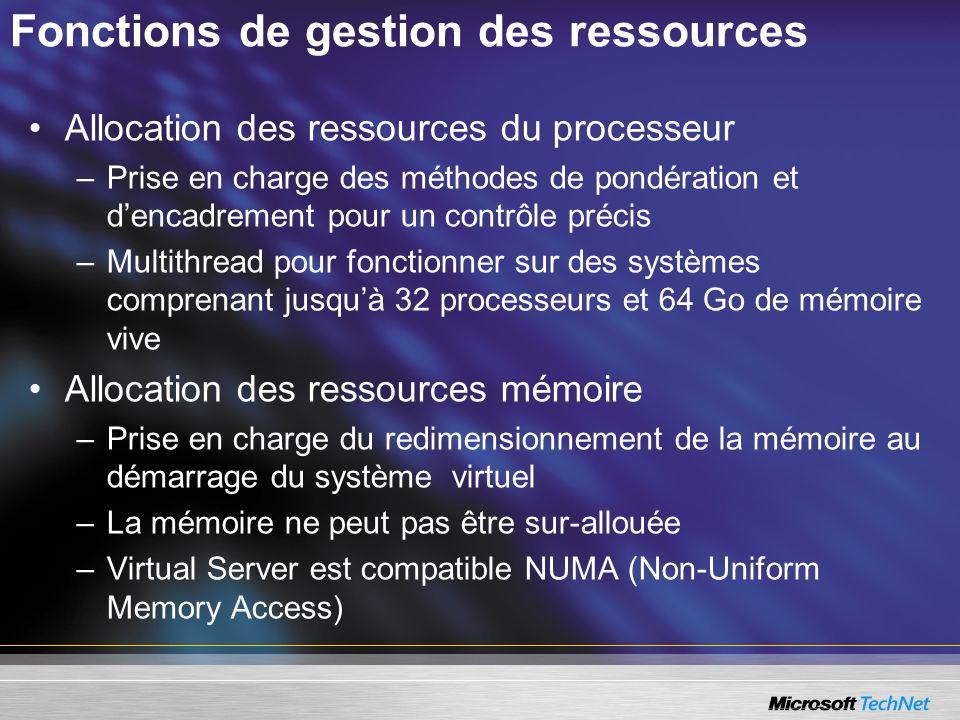 Fonctions de gestion des ressources