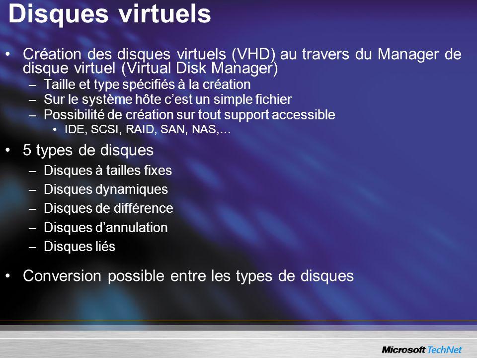 Disques virtuels Création des disques virtuels (VHD) au travers du Manager de disque virtuel (Virtual Disk Manager)