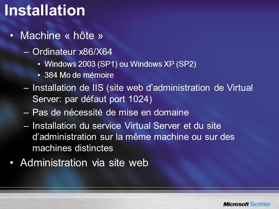 Installation Machine « hôte » Administration via site web