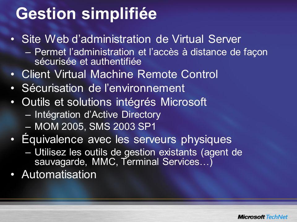 Gestion simplifiée Site Web d'administration de Virtual Server