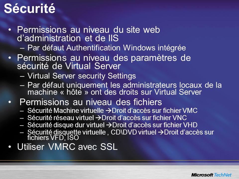Sécurité Permissions au niveau du site web d'administration et de IIS
