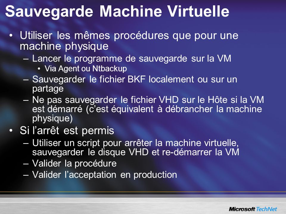 Sauvegarde Machine Virtuelle