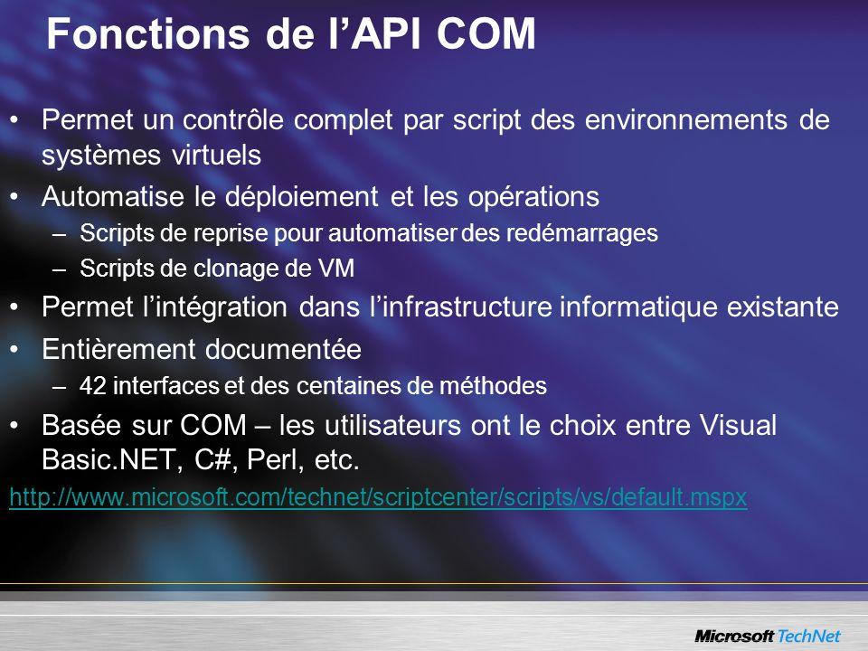 Fonctions de l'API COM Permet un contrôle complet par script des environnements de systèmes virtuels.