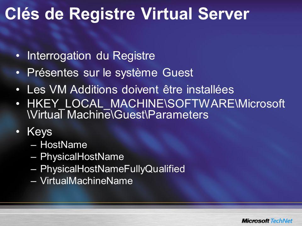 Clés de Registre Virtual Server