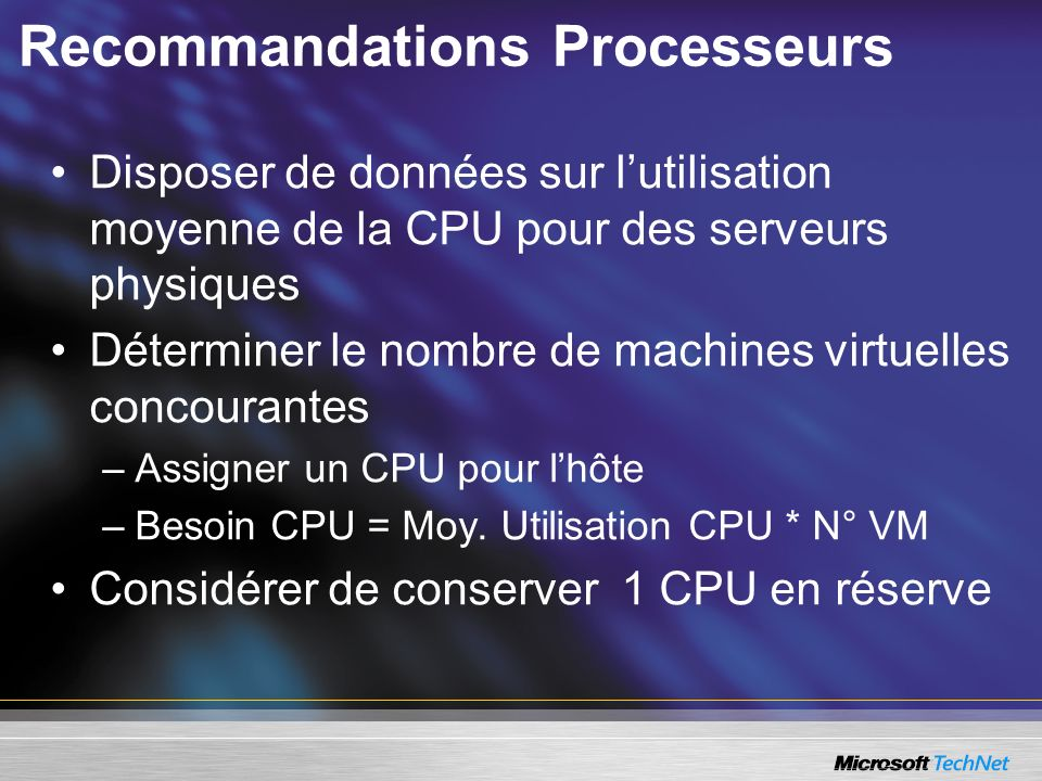 Recommandations Processeurs