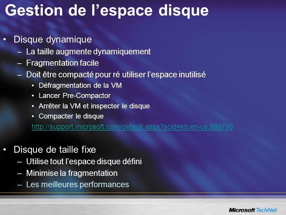 Gestion de l'espace disque