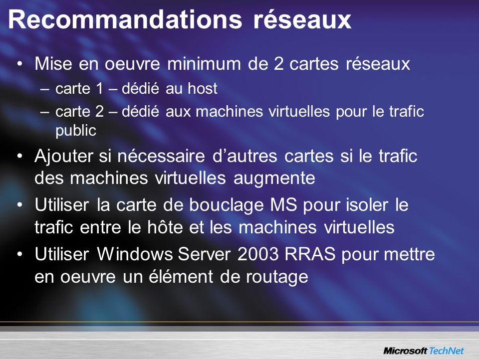 Recommandations réseaux