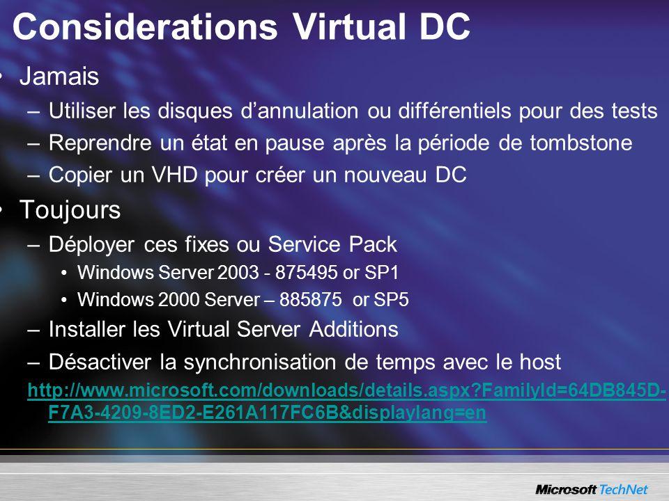 Considerations Virtual DC
