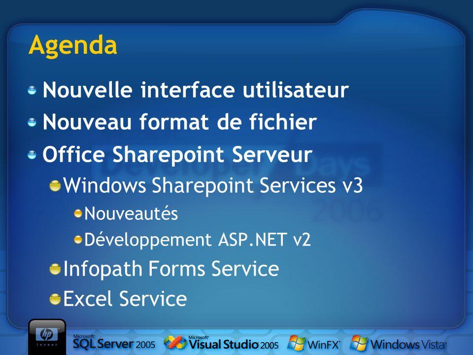 Agenda Nouvelle interface utilisateur Nouveau format de fichier