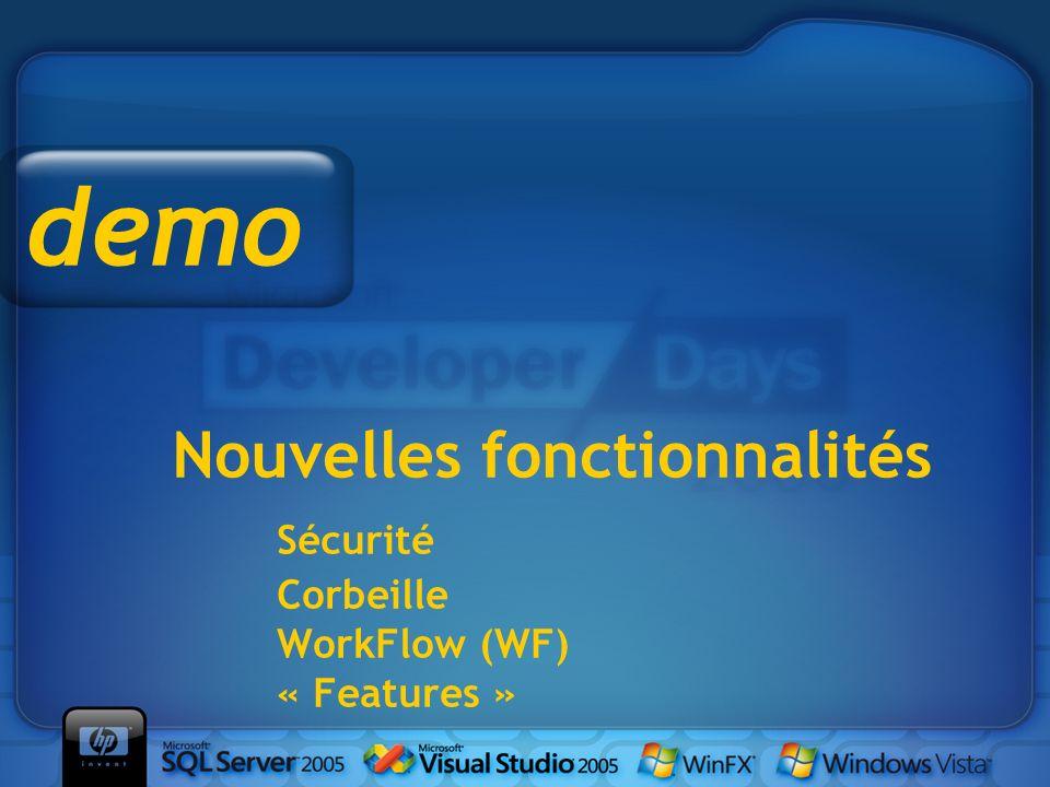 demo Nouvelles fonctionnalités Sécurité Corbeille WorkFlow (WF) « Features » Démo dans l'émulateur WAP.