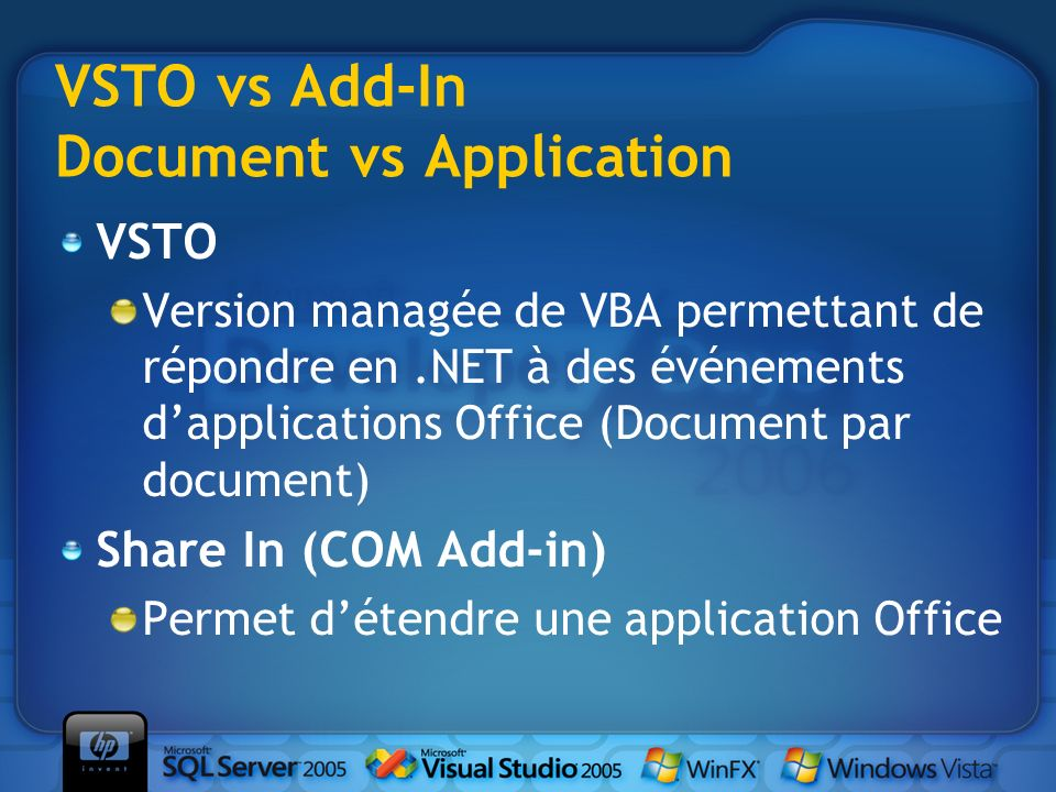 VSTO vs Add-In Document vs Application