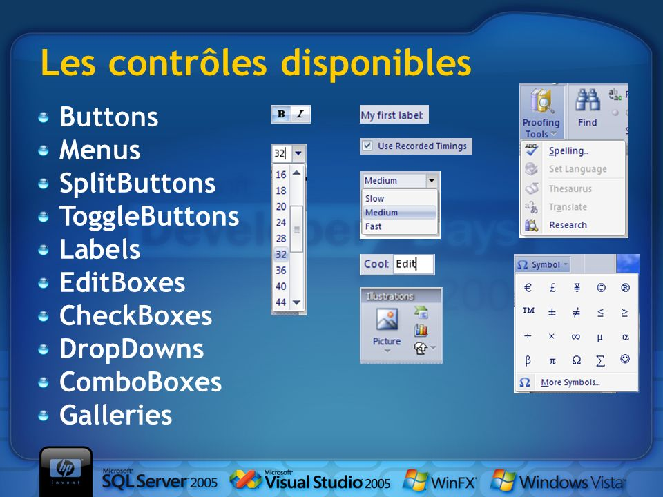 Les contrôles disponibles