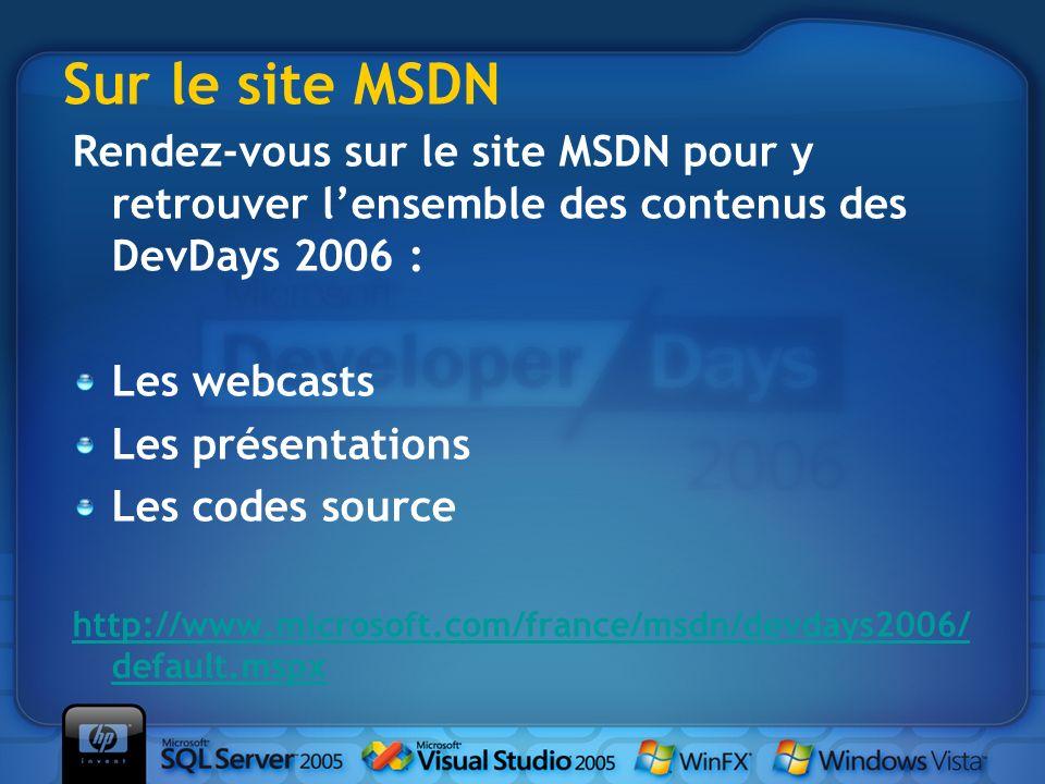 Sur le site MSDN Rendez-vous sur le site MSDN pour y retrouver l'ensemble des contenus des DevDays 2006 :