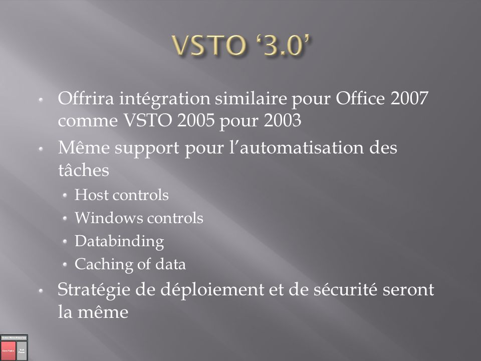 VSTO '3.0' Offrira intégration similaire pour Office 2007 comme VSTO 2005 pour 2003. Même support pour l'automatisation des tâches.