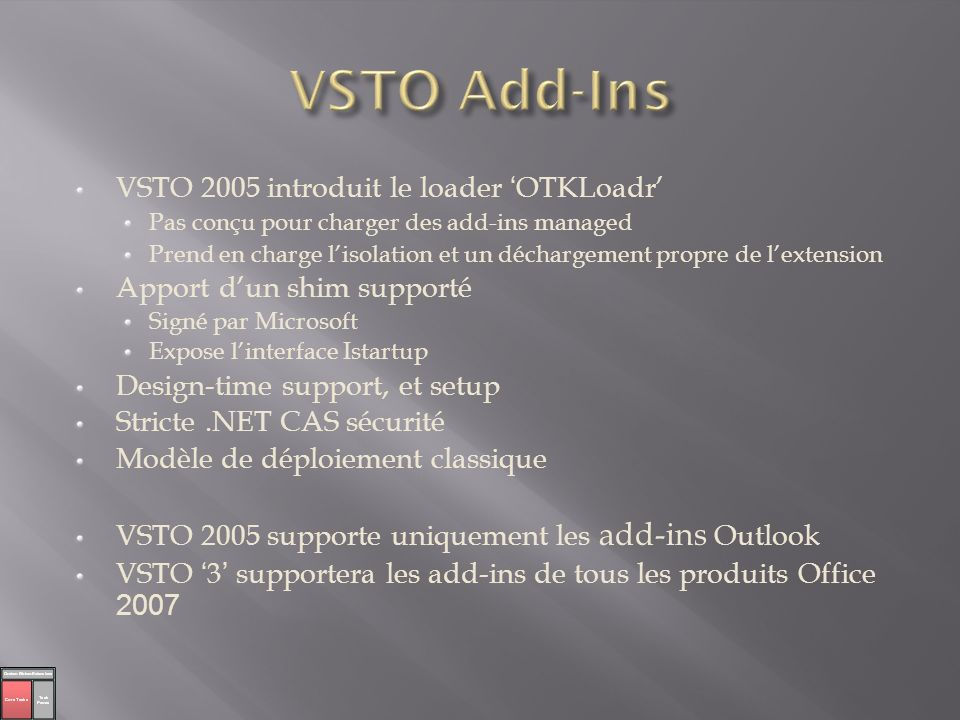 VSTO Add-Ins VSTO 2005 introduit le loader 'OTKLoadr'