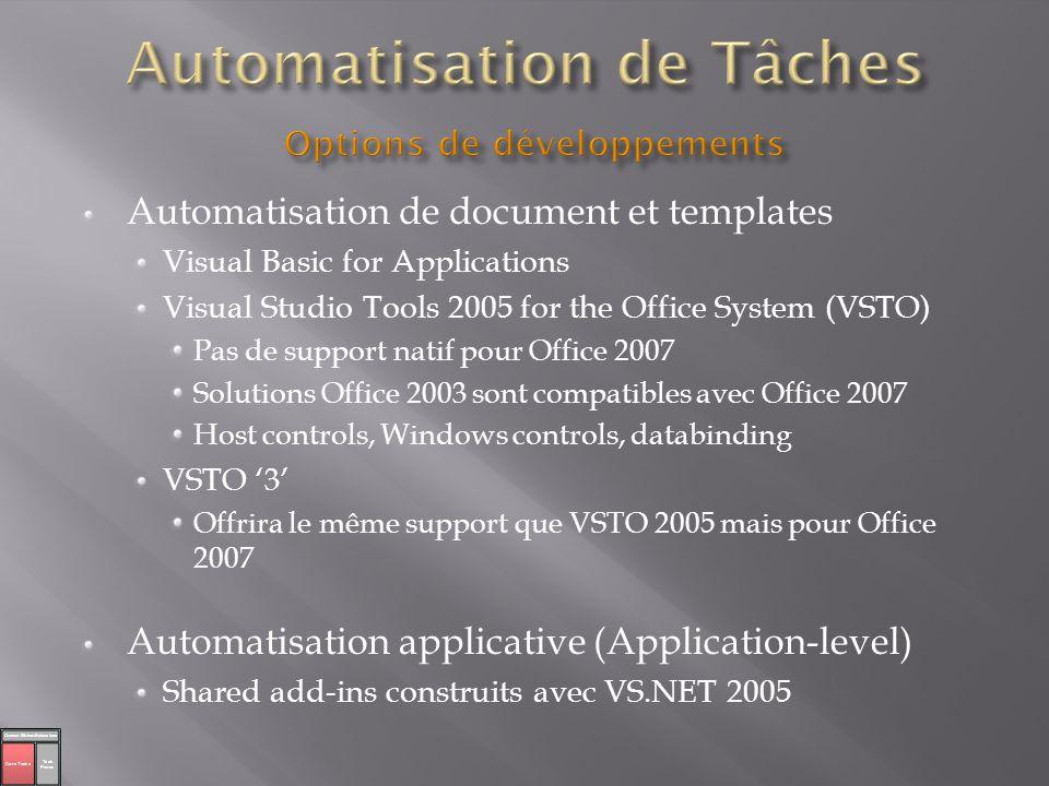 Automatisation de Tâches Options de développements