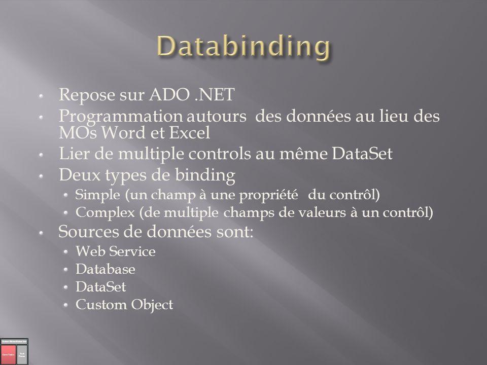 Databinding Repose sur ADO .NET